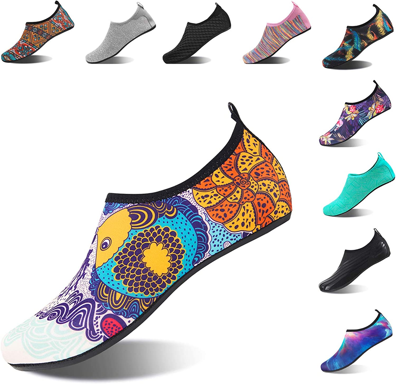 HMIYA Aqua Socks Beach Water shoes Barefoot Yoga Socks Quick-Dry Surf Swim shoes for Women Men (Fish, 44 45EU)