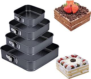Uponer Lot de 4 Moule à Gâteau Moule a cake a charniere Réglable Moule à gâteau Amovible Anti-adhésif Leakproof Réglable ...