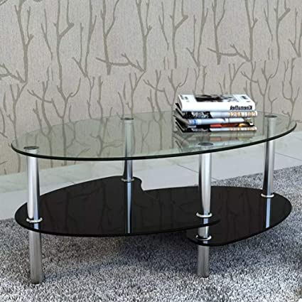 Soulong Tavolino Da Caffe Tavolini Da Caffe Vetro Tavolino Da Salotto Moderno Tavolo Salotto Con Ripiano 90 X 45 X 43 Cm Nero Amazon It Casa E Cucina