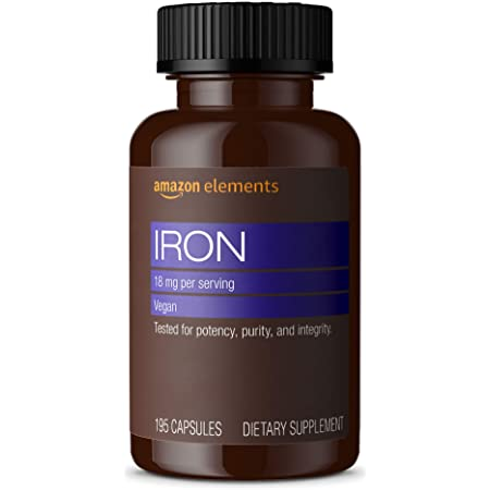 Amazon Elements Iron 18mg, Supports Red Blood Cell Production, Vegan, 195 Capsules, 6 month supply (Packaging may vary)