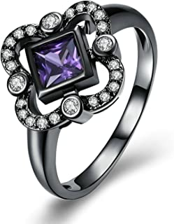 Adisaer Women Rings Black Gold Plated Purple Cubic Zirconia Princess Cut Wedding Ring Bands for Bride