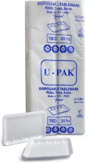 Hotpack Disposable Foam Rectangular Tray Set White (D18) 265 x 189 x 20mm, 250 Pieces 250 Units