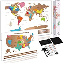 """Scratch Off Map of World + Bonus Scratch Off USA Map Poster, Including Complete Accessories Set & All Country Flags, Perfect Gift for Travelers to Tracking Your Adventures, 23.5"""" x 16.5"""", Gift Box"""