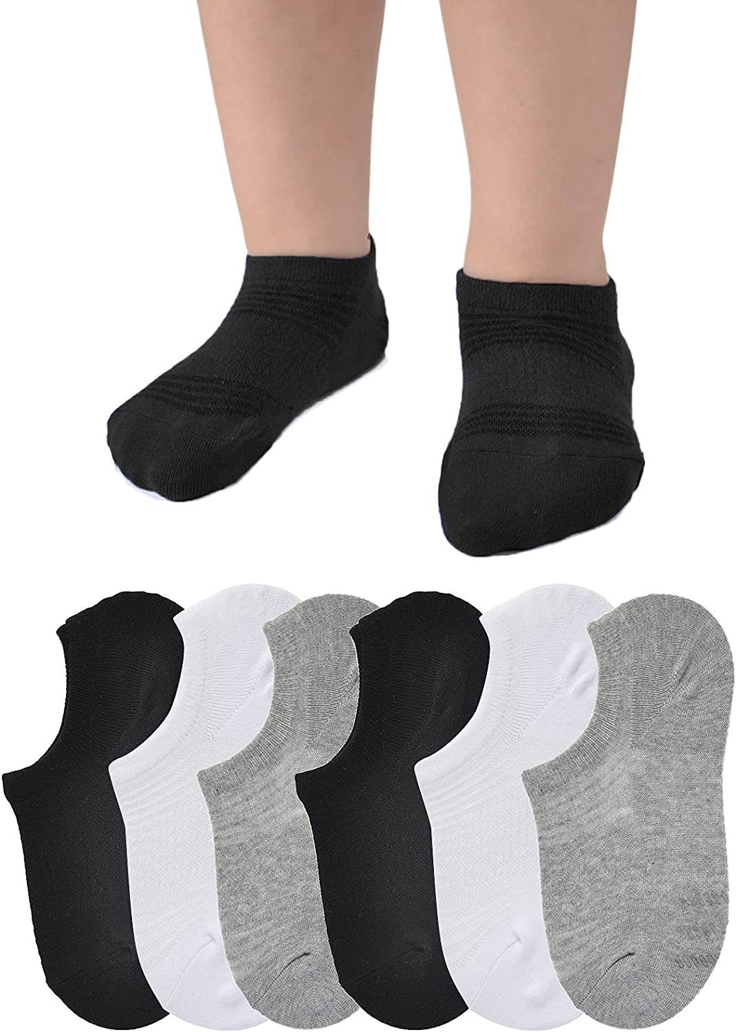 Baby No Show Socks Non Slip Low Cut Ankle Socks with Grip Infant Toddler Boys Girls