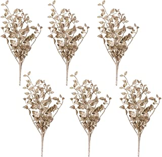 Valery Madelyn 6 Packs Champagne Gold Glitter Christmas Picks and Sprays with Leaves, Christmas Artificial Tree Picks Decorations for Holiday Party Arrangements Wreaths Garland Home Decor