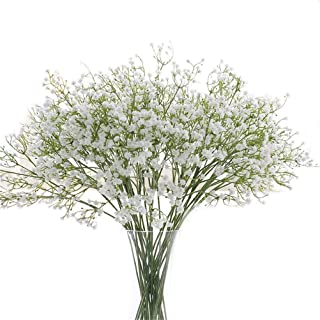Gumolutin 9PCS Long Stem Artificial Baby Breath Flowers Fake Real Touch Gypsophila for Home Office Indoor Outdoor Wedding Decoration Festive Furnishing,White