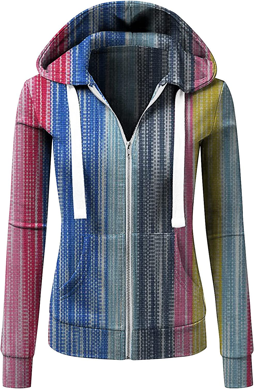 Auwer Women's Zip up Long Sleeve Pullover Hoodies Color Block Lightweight Sweater with Pocket