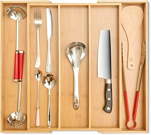 2021 Signature Living Bamboo Expandable Utensil Drawer Organizer, 2021 Premium Bamboo for Cutlery, Flatware, Silverware - Drawer Dividers for Easy Storage (3-5 outlet online sale Slots) sale