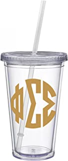 Phi Sigma Sigma Sorority Gold No Border Monogram Sticker Decal on Clear plastic Tumbler Greek Letter 16 oz. BPA Free Phi Sig