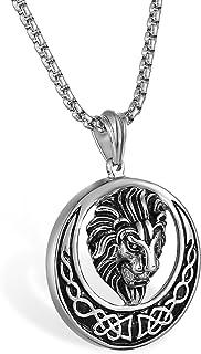 YL Pendentif Celtique avec t/ête de Lion en Acier Inoxydable avec cha/îne de Corde de Torsion de 60 cm