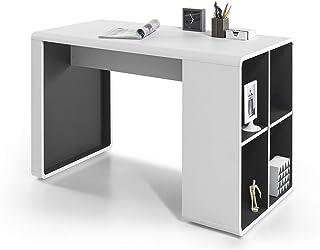 Robas Lund Tadeo Table Bureau, MDF, Blanc/Anthracite, 59 x 119 x 76 cm
