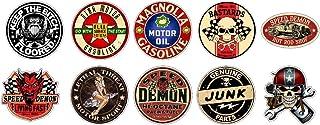 Aufkleber Set 10x Oldschool Vintage Speed Devil Mean Old Bastards Hotrods Sticker + Gratis Schlüsselringanhänger aus Kokosnuss Schale + Auto Motorrad Laptop Tuning Motorsport American Muscle Cars