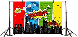 Yeele 5x3ft Cartoon Comic City Super Hero Photography Backdrop Vinyl Humor Abstract Superhero Baby Shower Photo Background for Girl Kid Birthday Party Photo Video Shoot Studio Prop Wallpaper
