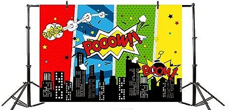 Yeele 8x6ft Cartoon Comic City Super Hero Photography Backdrop Vinyl Humor Abstract Superhero Baby Shower Photo Background for Girl Kid Birthday Party Photo Video Shoot Studio Prop Wallpaper
