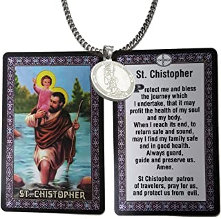 Catholic - 3 Pieces Set Round Saint Christopher Stainless Steel Medal Necklace +20