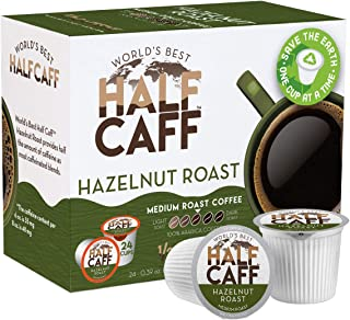 World's Best Half Caff, Hazelnut Flavored Coffee 24ct. Recyclable Single Serve Coffee Pods - Richly satisfying arabica beans California Roasted, k-cup compatible including 2.0