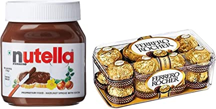 Nutella Hazelnut Spread, 350g and Ferrero Rocher Chocolate, (16 Pcs) 200g (Imported) Combo Pack