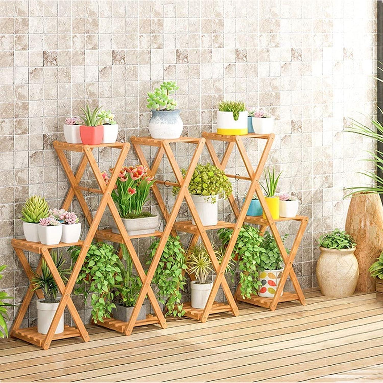 WAN SAN QIAN- Bamboo Flower Stand Floor Type Folding Plant Display Shelf Home Multi-Layer Pot Rack Flower racks (Size   158  28  90cm)