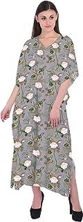 RADANYA Floral Caftan Dresses for Women V Neck Long Kaftan Cover Up Summer Maxi Dress