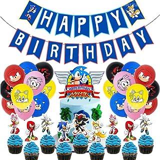 Sonic Decoración para Fiestas de Cumpleaños con Globos Banderín Feliz Cumpleaños Tarjetas de Tarta Adornos de Casa para Fiestas Fiesta Temática Erizo Dibujos Animados para Niños Adultos Fans