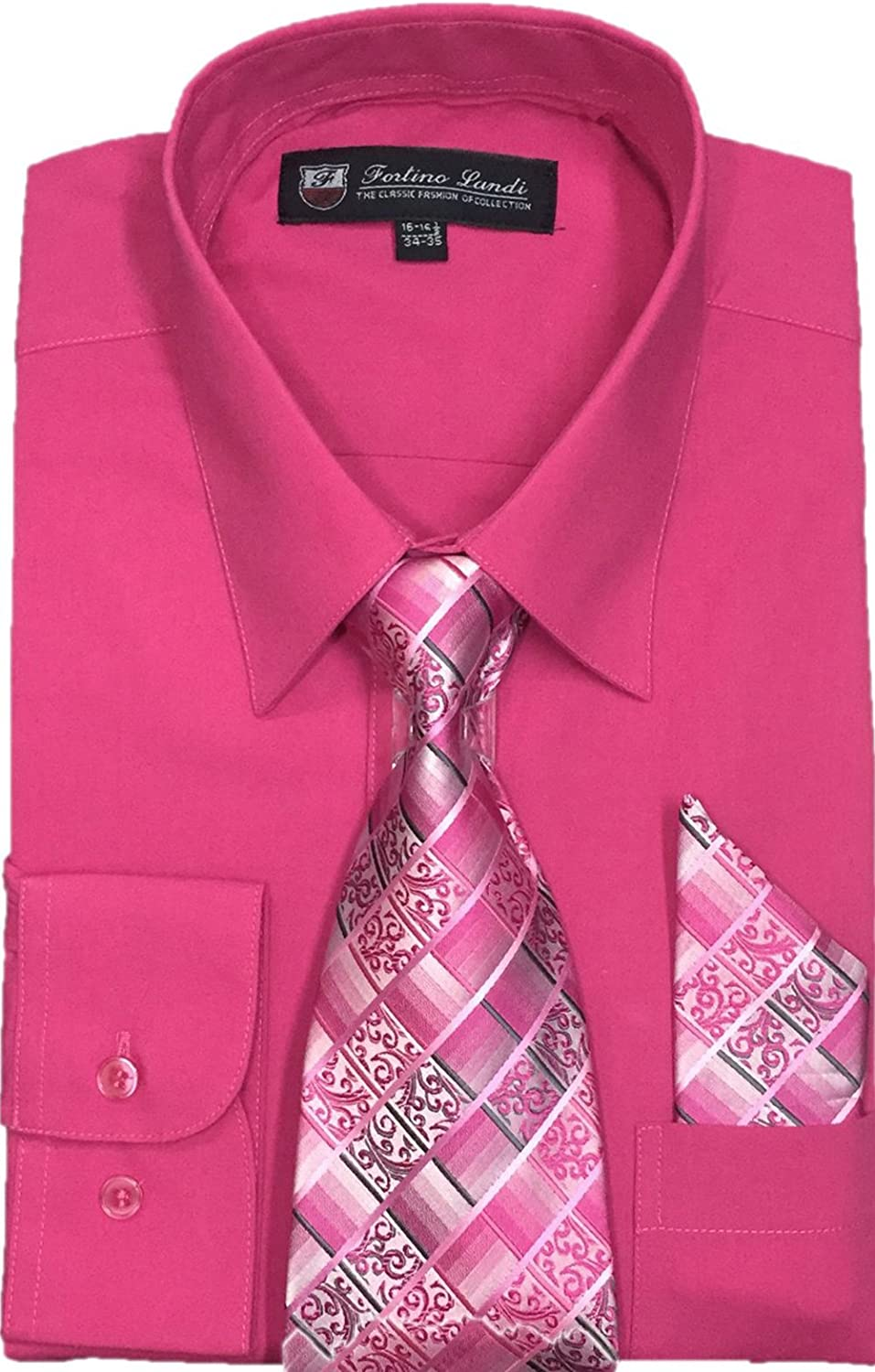Fortino Landi Men's Long Sleeve Dress Shirt, with Tie and Hanky - Many Colors