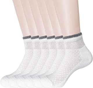 KONY 6 Pack Women's Cushioned Diabetic Ankle Socks | Non-Binding Top Moisture Wicking Cotton White Athletic Socks Size 6-9 (White - 6 Pairs)