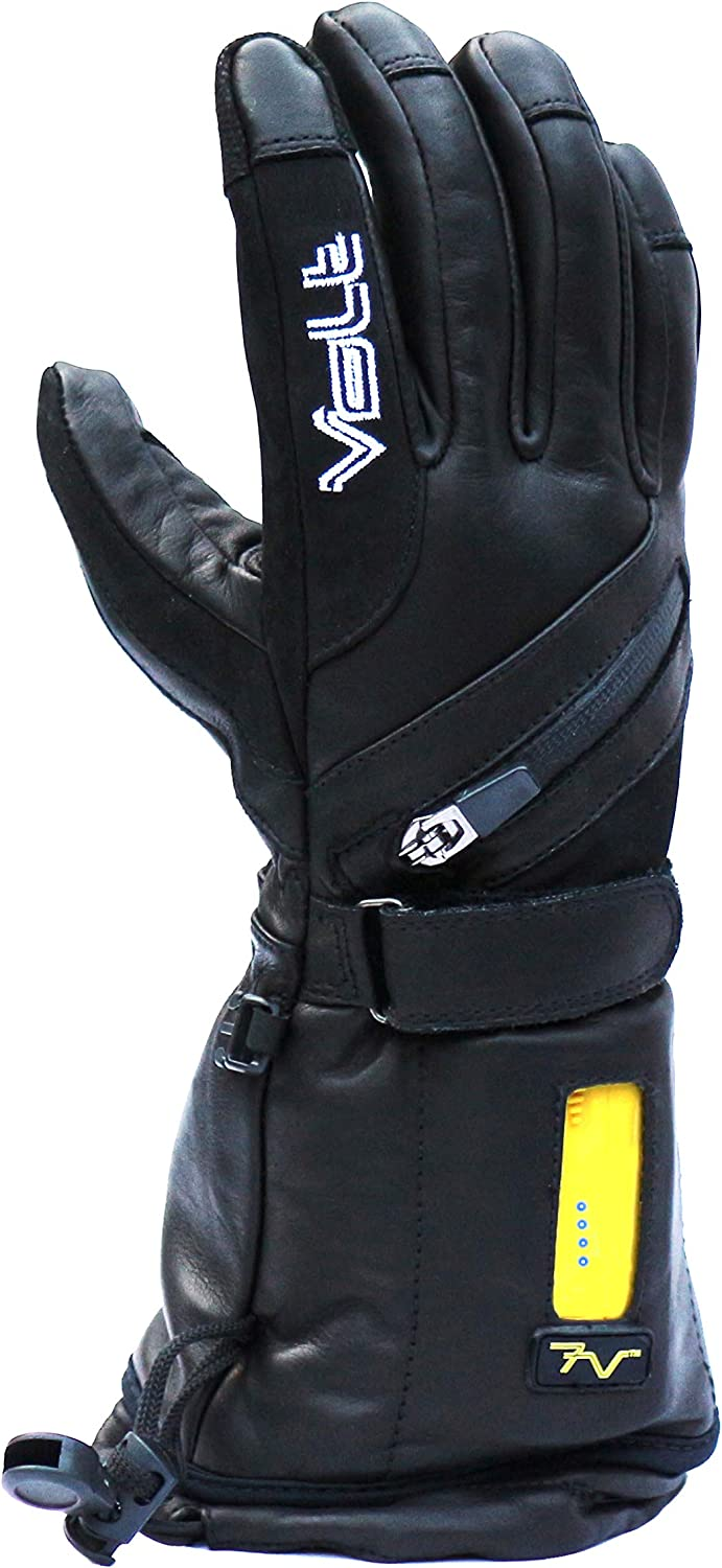 Titan Women's Heated Gloves by Volt - Waterproof/Leather Ski Gloves - Heats Each Finger, Both Sides of The Hand