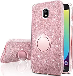 Galaxy J7 Aero/J7 Top/J7 Crown/J7 Aura/J7Refine/J7 Eon/J7 Star Case with 360 Rotating Ring Stand, Silverback Girls Women Cute Bling Glitter Protective Case Cover for Samsung Galaxy j7 2018 -Rose Gold