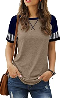 Womens T Shirts Short Sleeve Striped Color Block Leopard...