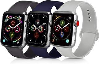 コンパチブル Apple Watch バンド 38mm 40mm 42mm 44mm スポーツシリコーン交換バンド防水ストラップiWatchシリーズ5/4/3/2/1に対応 (42mm/44mm-M/L, ブラック+紺+グレー)