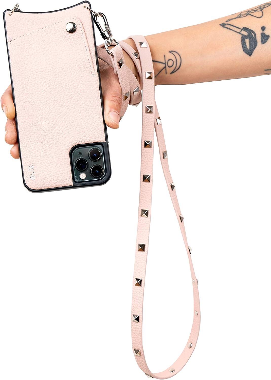 Aux Funda iPhone iPhone 12/12 Pro con Cinta para Colgar   Cuero Vegano   Bolsillo Trasero para Tarjetas   Cinta con Tachuelas Plateadas a Juego para Colgar   Talla: iPhone 12/12 Pro, Rosa