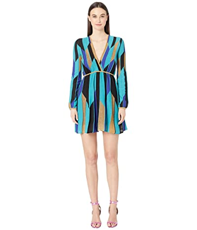 M Missoni Long Sleeve Broken Stripe Short Dress (Blue Multi) Women