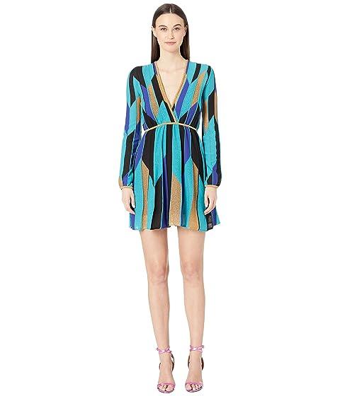 M Missoni Long Sleeve Broken Stripe Short Dress