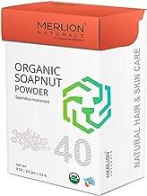 Organic Soapnut Powder by Merlion Naturals | Reetha/Sapindus mukorossi | 227gm/ 8OZ/ 1/2lb | USDA NOP Certified 100% Organic