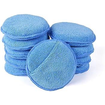 "Autocare Microfiber Wax Applicator, Ultra-Soft Microfiber Wax Applicator Pads with Finger Pocket Wax Applicator for Cars Wax Applicator Foam Sponge (Blue, 5"" Diameter, Pack of 10)"