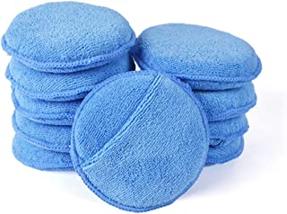 Microfiber Wax Applicator, AutoCare Ultra-soft Microfiber Wax Applicator Pads with Finger Pocket Wax Applicator for Cars Wax Applicator Foam Sponge (Blue, 5