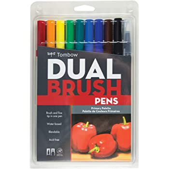 Tombow 56167 Dual Brush Pen Art Markers, Primary, 10-Pack. Blendable, Brush and Fine Tip Markers