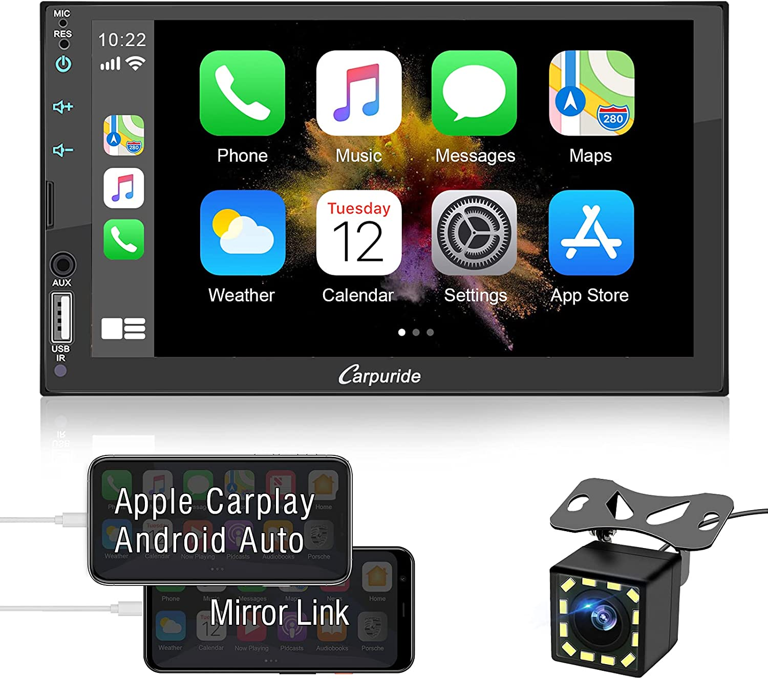 Car Stereo Compatible with Apple Carplay and Android Auto, 7 Inch Double Din Car Audio Receiver with Capacitive Touchscreen, Bluetooth, Mirror Link, Backup Camera, USB/TF/AUX, A/V In, SWC, FM/AM Radio