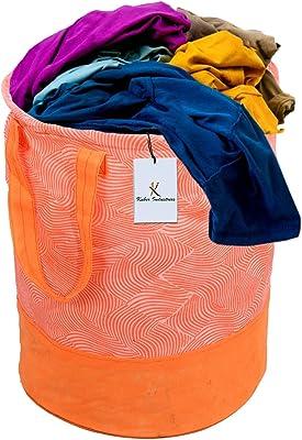 Kuber Industries Laheriya Printed Waterproof Canvas Laundry Bag, Toy Storage, Laundry Basket Organizer 45 L (Orange) CTKTC034629