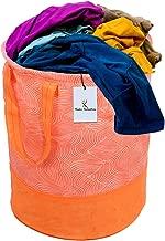Kuber Industries Laheriya Printed Waterproof Canvas Laundry Bag, Toy Storage, Laundry Basket Organizer 45 L (Orange) CTKTC134629