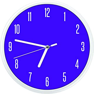 Essentially Yours Non Ticking Modern Wall Clock with Silent Sweeping Movement, Battery Operated and Included, Kids Room, Bedroom, Living Room Décor, Minimalist Decorative Design - Purple