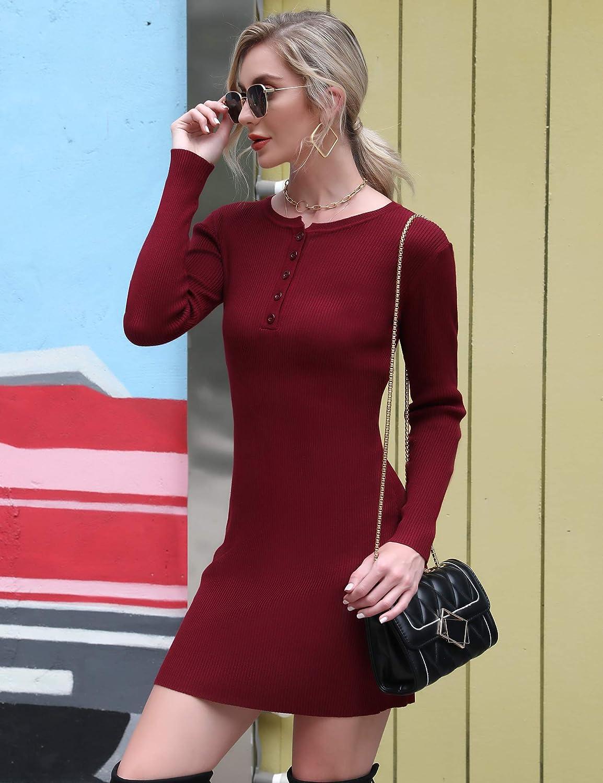 Aibrou Vestido de Punto para Mujer,Vestido Ajustado El/ástico Elegante Cuello Redondo Jersey,Vestido de Su/éter de Manga Larga para Oto/ño Invierno