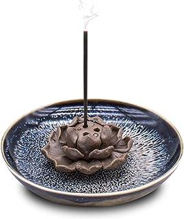 TRENDBOX Ceramic Handmade Artistic Incense Holder Burner Stick Coil Lotus Ash Catcher Buddhist Water Lily Plate - Three Ho...