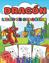 Libro de colorear dragones Edades 4-8: Libro de colorear para niños y niñas, 90 páginas de hermosos diseños de dragones | ...