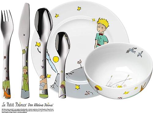 WMF El Principito - Vajilla Infantil (Plato, Cuenco), Acero Inoxidable y Cubertería (Tenedor, Cuchillo de Mesa, Cucha...