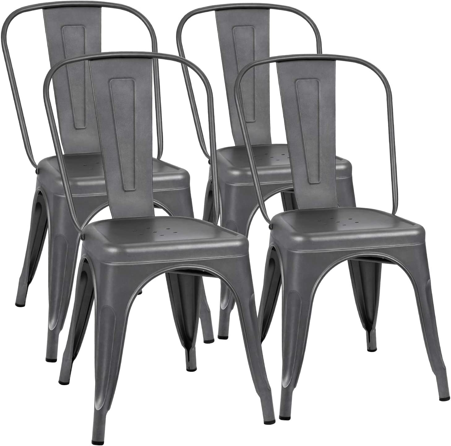 Flamaker Metal Dining Chairs Stackable Kitchen Dining Chairs Metal Chairs Bistro Cafe Side Chairs Height Restaurant Chairs Tolix Side Bar Chairs Grey Set of 4