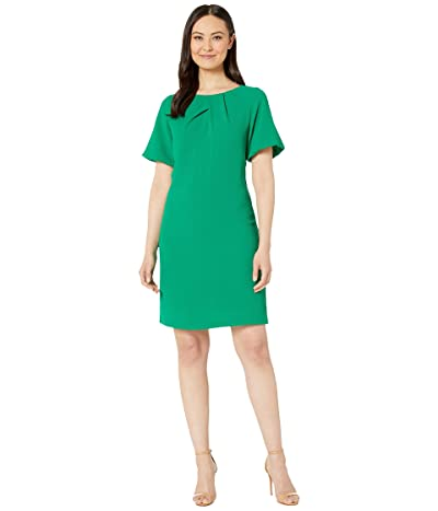Adrianna Papell Textured Crepe Dress with Draped Neckline and Puff Sleeves (Emerald) Women