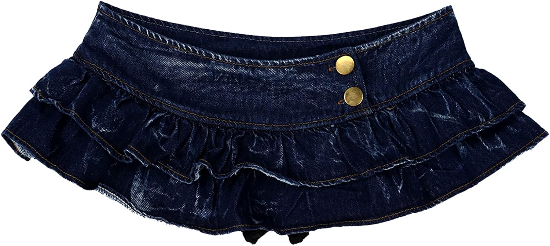YiZYiF Women's Punk Y2K Denim Mini Pleated Skirts Japan Casual Slim A-line Ruffle Short Skirt