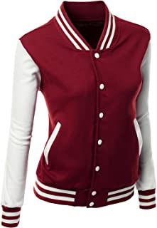 Xpril Women's Stylish Color Contrast Long Sleeves Varsity Jacket