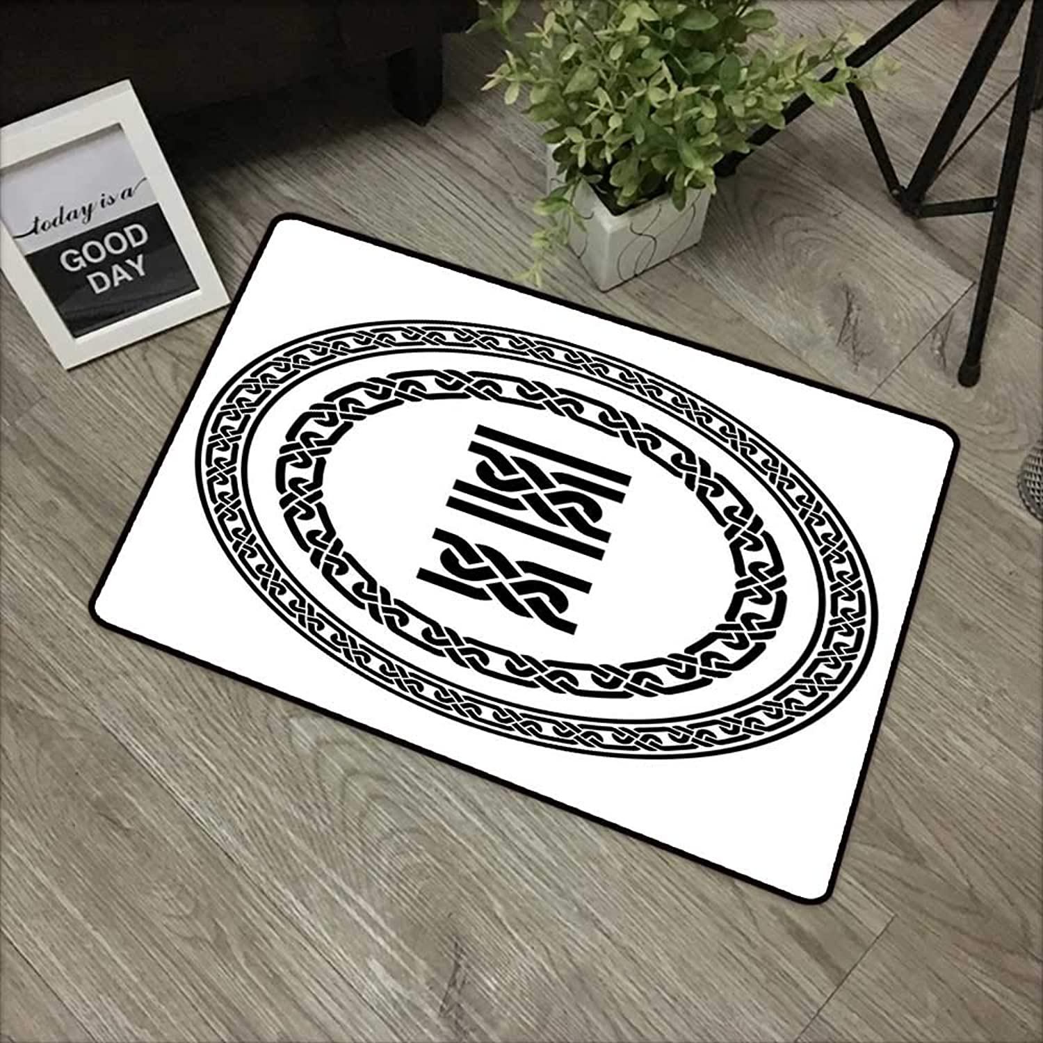 Learning pad W35 x L59 INCH Celtic,Old-Fashion Lace Celtic Knots Symbol Medieval Design Artsy Vikings Theme Graphic,Black White Easy to Clean, Easy to fold,Non-Slip Door Mat Carpet